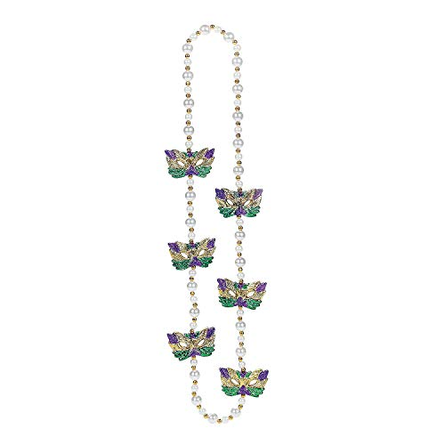 - Fun Express - Pearl Bead Necklace with Masks for Mardi Gras - Jewelry - Mardi Gras Beads - Hand - Strung - Mardi Gras - 1 Piece