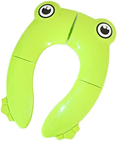 Folding Potty Training Toilet Seat Cover for Toddler Kids Baby Boys Girls Portable Non Slip Cartoon Animal Silionce Pads Toddlers Toilet Seat Travel (Green Frog)