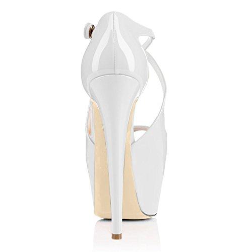 Croce Tacco uBeauty Allacciatura Bianco Scarpe Scarpe Donna da Donna rIAATn