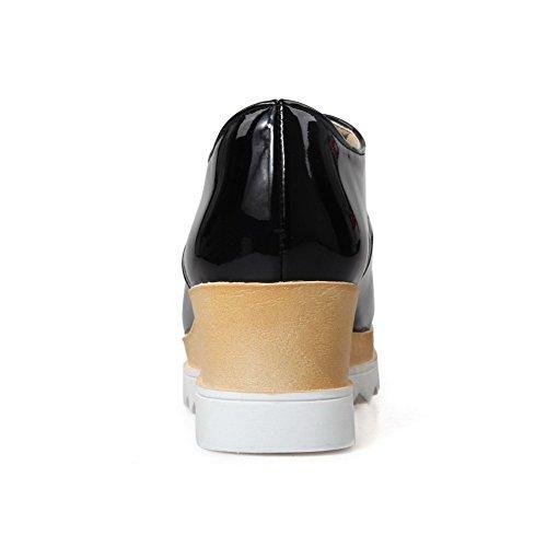VogueZone009 Damen Lackleder Schnüren Quadratisch Zehe Mittler Absatz Pumps Schuhe Schwarz