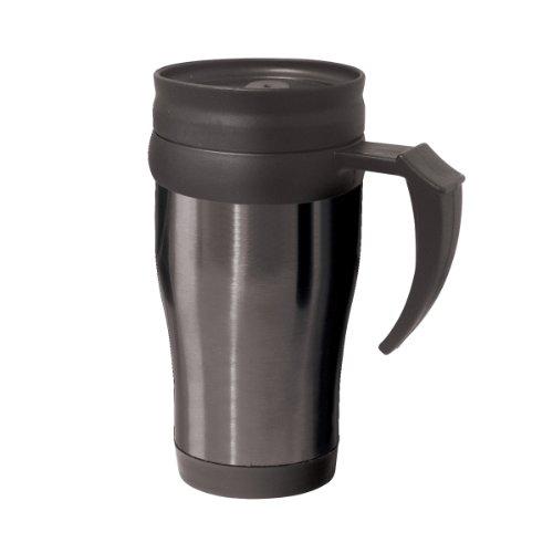 Oggi 5068.3 Lustre Stainless Steel with Plastic Liner, Lid and Base Travel Mug, 14-Ounce, Black