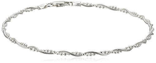 """Sterling Silver Twisted Bead and Snake Chain Bracelet, 7.5"""""""