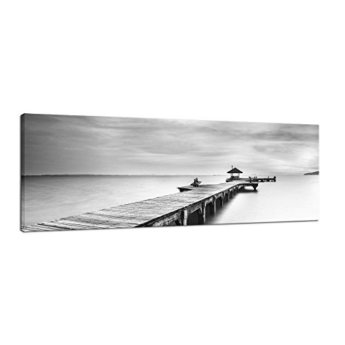 Pyradecor Large Black and White Peace Ocean Bridge Landscape Giclee Canvas Prints Modern Gallery Wrapped Seascape Sea Beach Pictures Paintings Artwork on Canvas Wall Art for Bedroom Home Decorations L