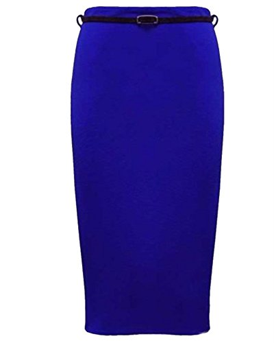 Womens Plus Size Belted Pencil Skirts Casual Office Bodycon Skirts (22, Royal Blue)
