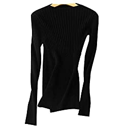 Dissa F5057 Women Loose Solid Sweater Round Neck Long Sleeve 100 Cashmere Sweater Pullover Black S Uk 6