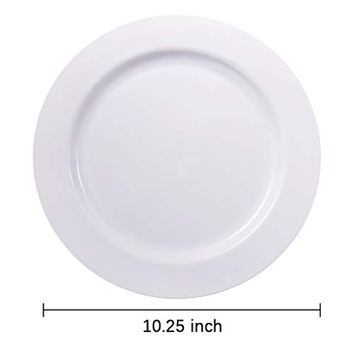BUCLA 100PCS White Plastic Plates-10.25inch 10.25inch Plates,