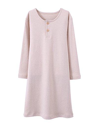 HOYMN Girls' Nightgowns & Sleep Shirts Cotton Sleepwear for Toddler 2-11 Years (5-6 Years, Pure Beige)