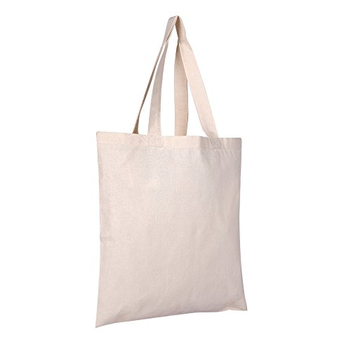 Craft Canvas Tote Bags | 24 PACK | Natural Color, 100% Cotton 6oz. Fabric Weight Durable | Reusable Decorative Customizable for Crafts Grocery Shopping Weekender Wedding Event Swag Totes ()