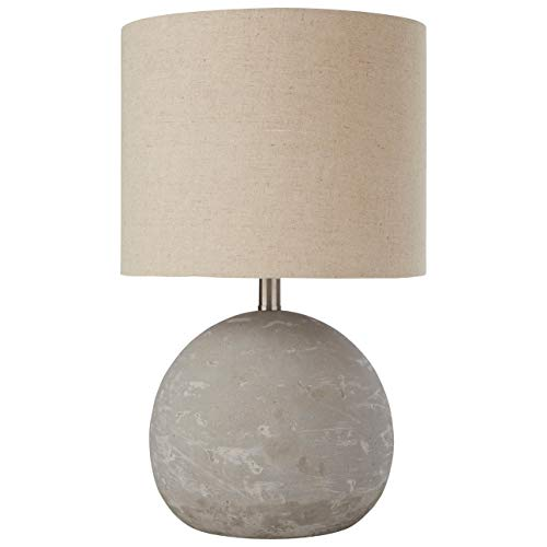 - Stone & Beam Industrial Decor Round Concrete Table Desk Lamp With Light Bulb and Brown Shade - 10 x 10 x 16 Inches, Brushed Nickel