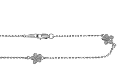 14k solid white gold 2 sided Hawaiian plumeria diamond cut bead chain anklet 10'' by Arthur's Jewelry (Image #1)