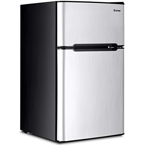 Costway Compact Refrigerator 3.2 cu ft. Unit Small Freezer Cooler Fridge (Gray)