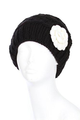 AN Black Winter Beanie Hat for Women Vintage Inspired