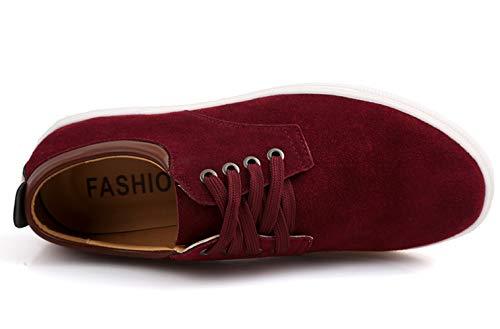 Rouge Homme Wuiwuiyu Basket Respirant Foncé Chaussures Basses Classic Bateau Canvas P8aqcw8Wd