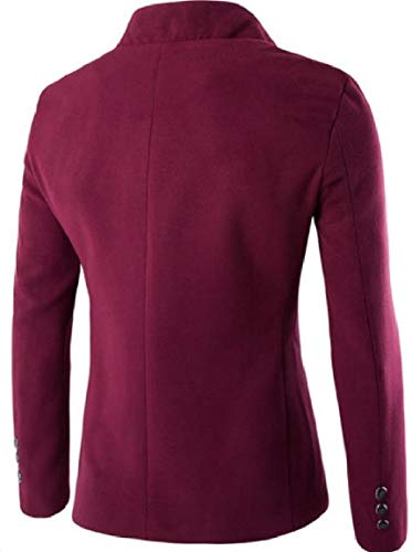 Collare Vino Giacca Misto Monopetto Outwear Solido Rosso Linguetta Mens Lana Basamento Vestito Mogogo zRxZwPyqvc