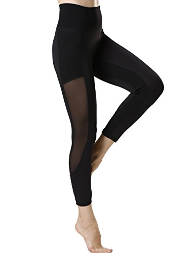 icyzone Women's Activewear Printed Sports Running Yoga Tights Legging with Mesh (L, BLACK)