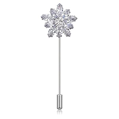 Hot Kemstone Exquisite Cubic Zirconia Silver Plated Flower Brooch Pin Jewelry for Women hot sale