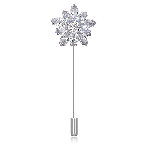 Kemstone Exquisite Cubic Zirconia Silver Plated Flower Brooch Pin Jewelry for Women
