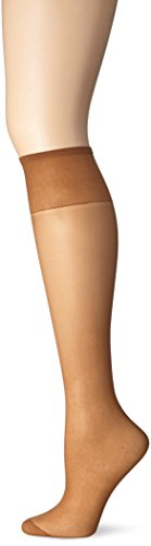 Just My Size Women's 4-Pack One size Knee High Panty Hose, Suntan, One Size (Just My Size Trouser Socks)
