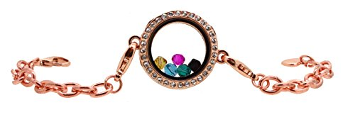 Floating Charm Glass Locket Pendant Link Chain Bracelet with Free Crystal Charms (Copper)
