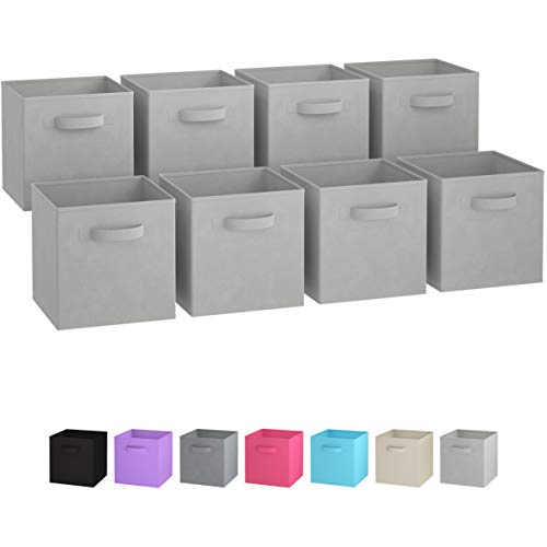 Royexe Storage Bins - Set of 8 - Storage Cubes | Foldable Fabric Cube Baskets Features Dual Handles. Cube Storage Bins. Closet Shelf Organizer | Collapsible Nursery Drawer Organizers (Light Grey)