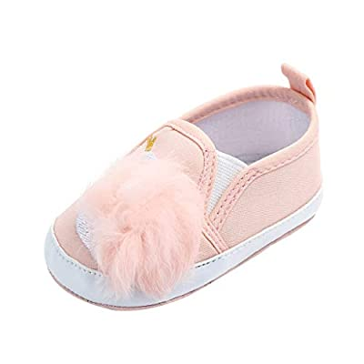 NUWFOR Newborn Toddler Baby Girls Swan Hairball Anti-Slip First Walkers Soft Sole Shoes White