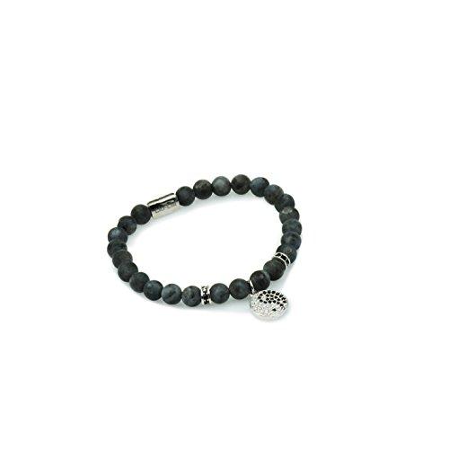 Labradorite Pendant Bracelet - Unisex Power Healing Labradorite Gemstone Beaded Bracelet | Spiritual Pendant Yinyang Charm Beads Bracelet (Silver, Large)