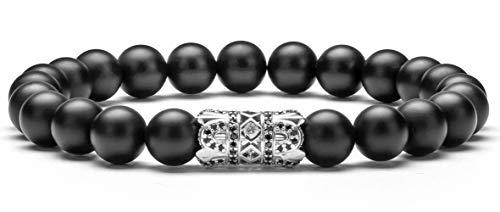 (Hamoery 8mm Natural Stone Charm Bracelet for Men Women Silver Zircon Accessories Beads Bracelet(Silver))