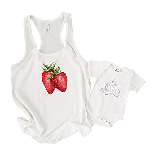 The Spunky Stork Strawberries & Cream Baby Toddler Matching Shirts - Siblings or Mommy & Me (White, Cream Youth XL) -