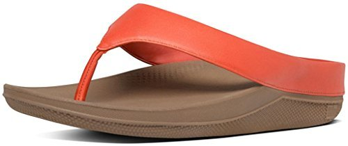 Sandals Thong Orange (FitFlop Trade; Womens Ringer™ Leather Toe-Thong Sandals Flame Size 9)