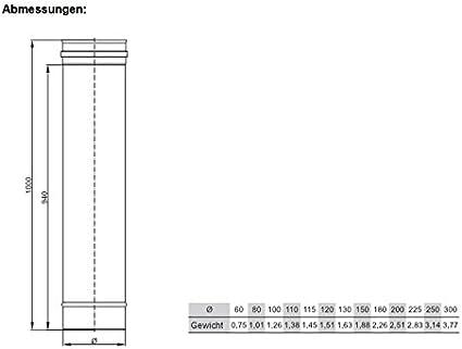 Rohr Edelstahl DN 130 130mm L-1000 Schornstein Sanierung Rauchrohr Ofenrohr Abgasrohr