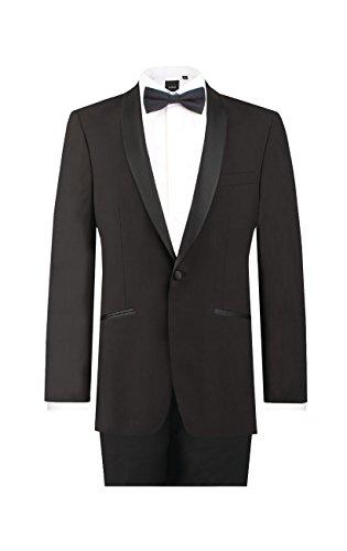 Dobell Mens Black 2 Piece Tuxedo Regular Fit Shawl Lapel Evening Dinner Suit (40L Jacket with 34L Pants)