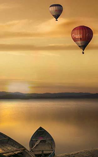 Romantic Balloon Hot Air - Notebook: Fantasy Balloons Sky Hot Air Lake Sunset Balloon Basket Baskets 5