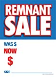 G60RET Remnant Sale Was Now - Grommet Reinforced (Brass Ring) Sale Tags - 5'' x 7'' (100 Pack) Carpet and Flooring Store Price Cards 10pt Card Stock for Easy Writing