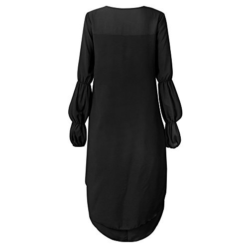 Taglie shirt Manica Lunga Lungo Tunica Longra Donna Da Forti A Elegante Nero Casual Camicia Felpa Vestito Balze Girocollo Asimmetrico Sciolta Con T Blouse Camicetta Camicie Top qOXgwYp