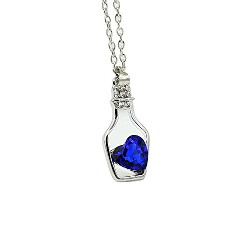 (HTHJSCO Jewelry Glass Tiny Wishing Bottle Vial Necklace Pendant Chain Necklace Romantic Gift (Blue))