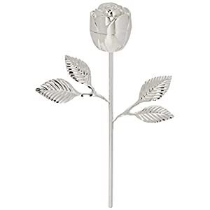 Elegance Long Stem Rose Ring Holder, 9″, Silver
