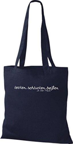 Shirtstown - Bolso de tela de algodón para mujer azul marino