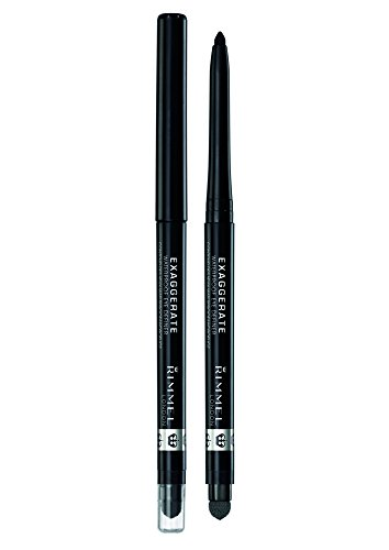 Rimmel Exaggerate Eye Definer, Blackest Black, 1 Count, Waterproof Long Lasting Easy Twist Up Self-Sharpening Eye Color Pencil