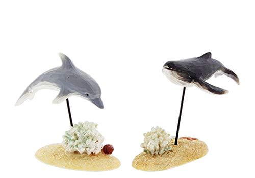 Blossom Bucket Set of 2 Marine Life Figurines - Dolphin & Whale