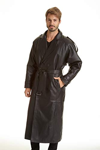Excelled Men's Big and Tall Leather Trench Coat, Black, X-Large