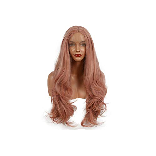 ghhingj long natural wave synthetic lace frontal wig heat resistant rose gold color pink glueless natural hairline wig for womens,Pink,24inches