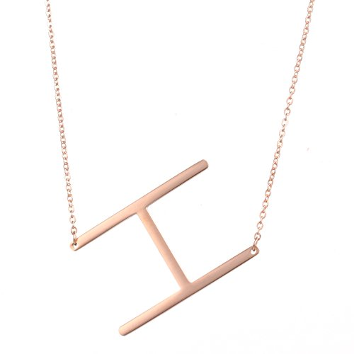 Diane Lo'ren 18kt Rose Gold Plated Women's Classic Stainless Steel Big Letter Necklace Sideways Initial Chain Script Pendant Name Long Necklaces for Women (RoseGold Letters A-Z) (Classic Womens Pendant)