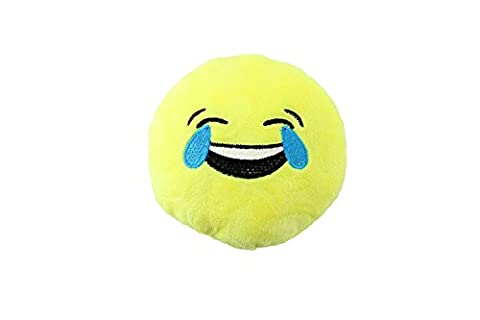 Plush Emoji Dog Toy with Squeaker by Midlee (Laughing Face) (Laughing Dog Ball)
