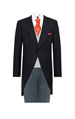 Dobell Mens Black Herringbone 2 Piece Morning Suit Regular Fit Striped Pants (40R Jacket with 34R Pants) - Herringbone Striped Suit