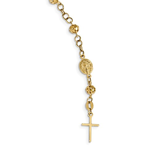 ICE CARATS 14k Yellow Gold Rosary Bracelet 9 Inch Religious Anklet Fine Jewelry Ideal Mothers Day Gifts For Mom Women Gift Set From Heart (Gold Rosary Yellow Bracelet 14k)
