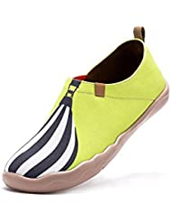 UIN Womens With Wind Painted Travel Canvas Shoe Yellow