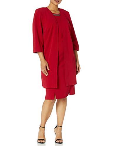 Maya Brooke Women's Plus Size Embellished Neck Jacket Dress, Red, 22W