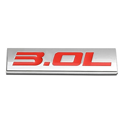 (UrMarketOutlet 3.0L Red/Chrome Aluminum Alloy Auto Trunk Door Fender Bumper Badge Decal Emblem Adhesive Tape Sticker)