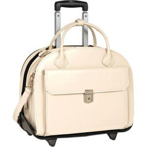 McKleinUSA Glen Ellyn 94367 W Series Italian Leather Detachable-Wheeled Ladies Briefcase (Navy)