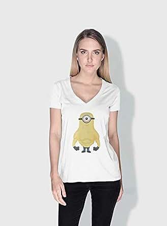 Creo Vin Diesel Minions Vshape Neck T-Shirt For Women - White, Xl
